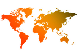 Stylised world map in SRB orange and red